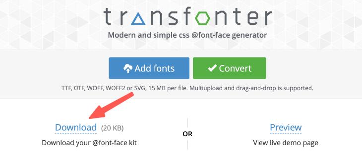 下載轉換完成的字體格式