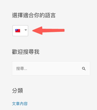 WordPress多國語言 :側邊欄的語言切換出現囉~