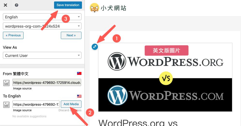 WordPress多國語言 :針對不同語言,切換網站圖片