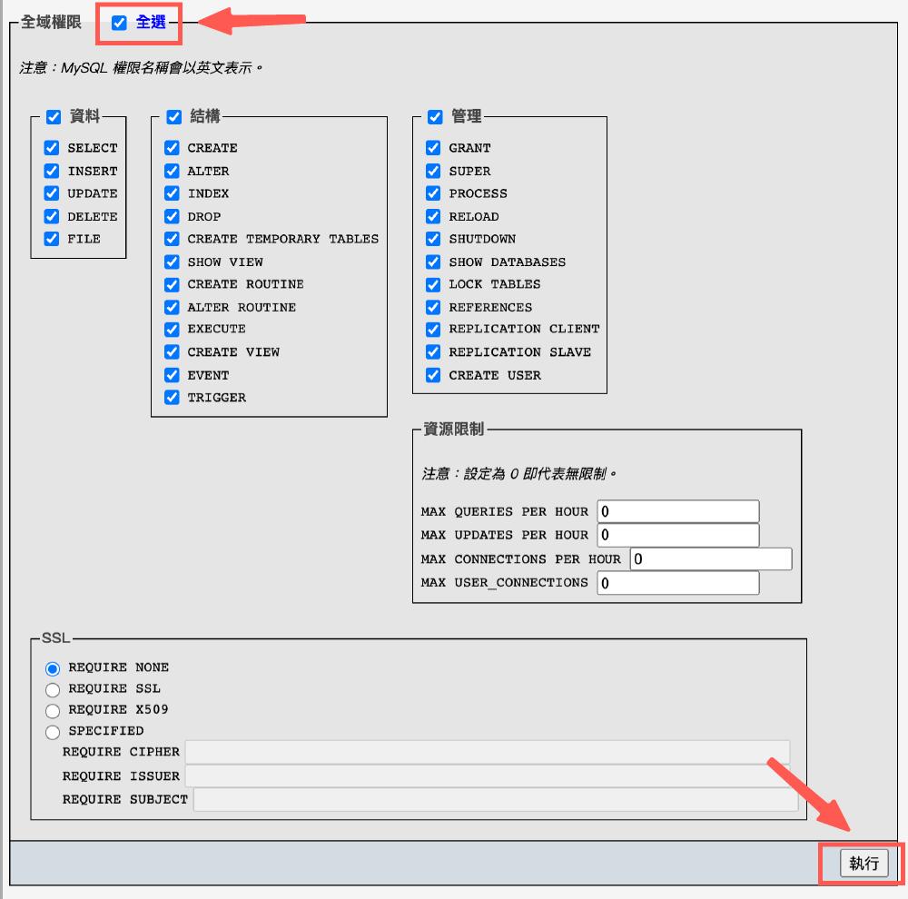 WordPress 本機安裝 :phpMyAdmin 賦予使用者權限&執行