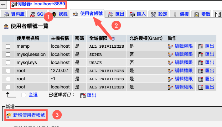 phpMyAdmin 新增使用者帳號