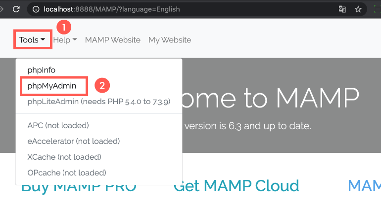 WordPress 本機安裝 :前往 phpMyAdmin,資料庫管理工具