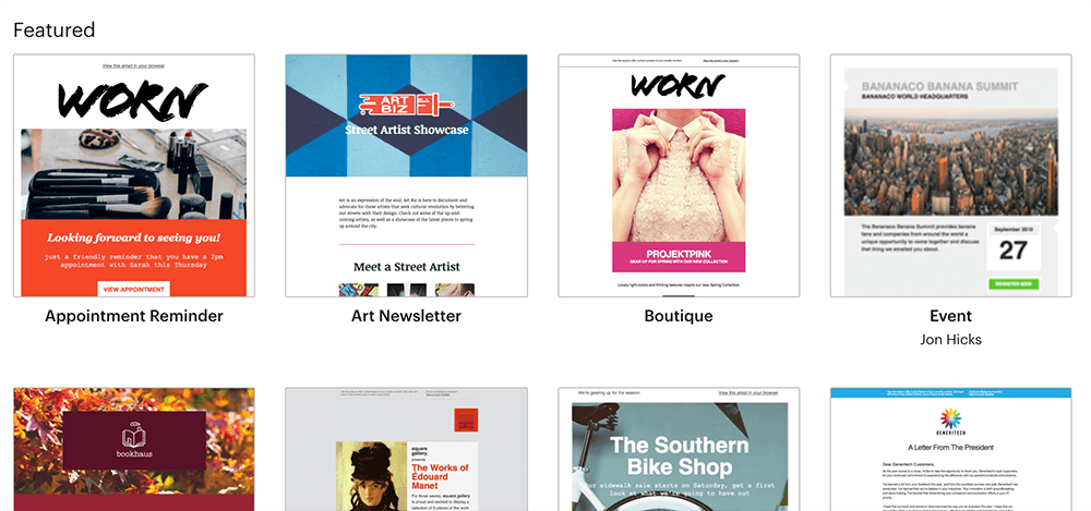 WordPress電子報 :Mailchimp 多種已設計好的 EDM