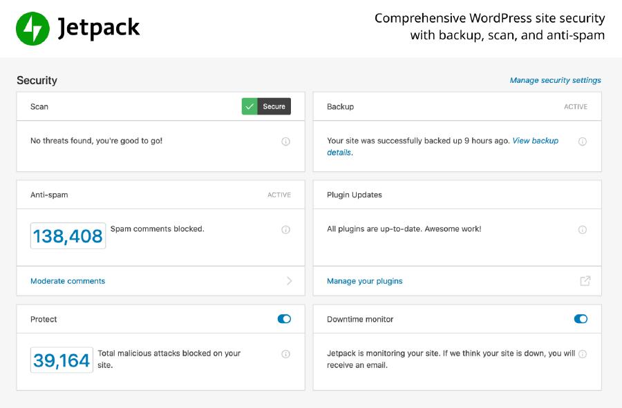 WordPress安全性外掛 :JetPack 安全性介面一覽