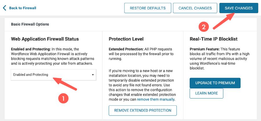 WordFence Security 教學 :更改防火牆模式