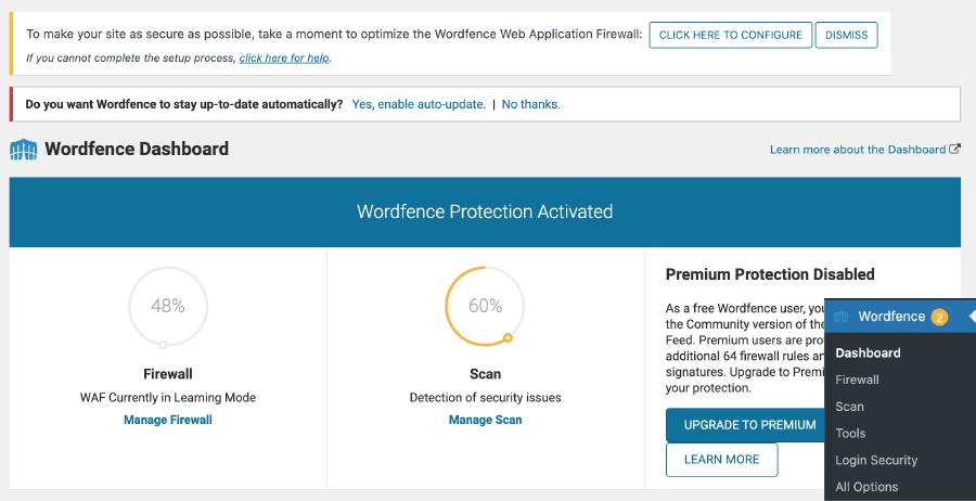 WordFence Security 教學 :WordFence 儀表板頁面