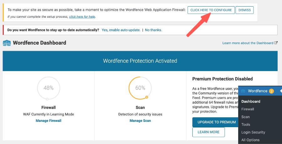 WordFence 開始配置網站防火牆