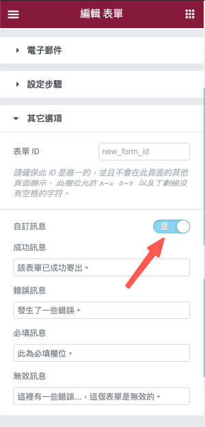 Elementor Pro 客製化表單:其他選項設定