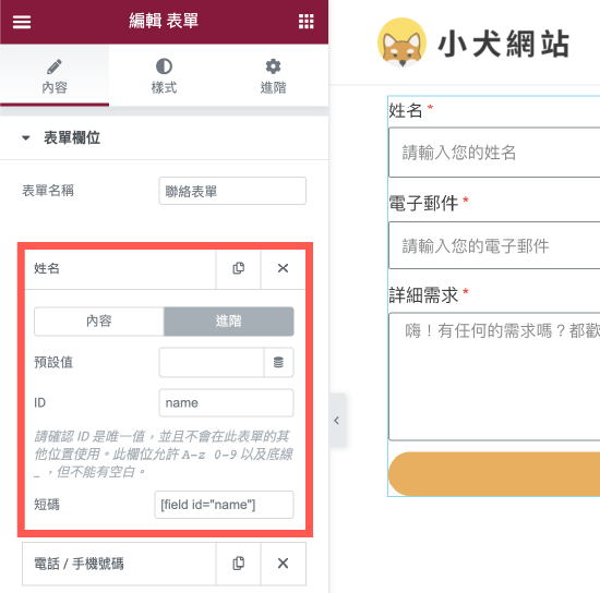 Elementor Pro 客製化表單:設定欄位 ID