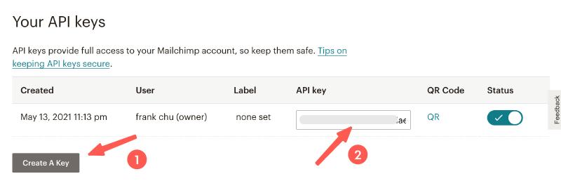 MailChimp for WordPress 電子報外掛:生成+複製 API Key