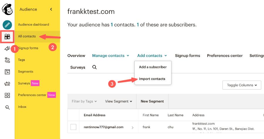 MailChimp教學 :匯入訂閱者資料