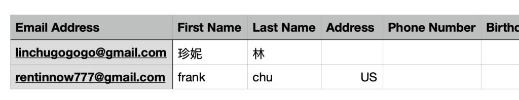 MailChimp教學 :匯出後的欄位格式(僅部分截圖)