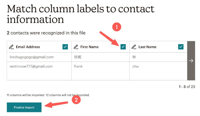 MailChimp教學 :選擇需匯入的欄位