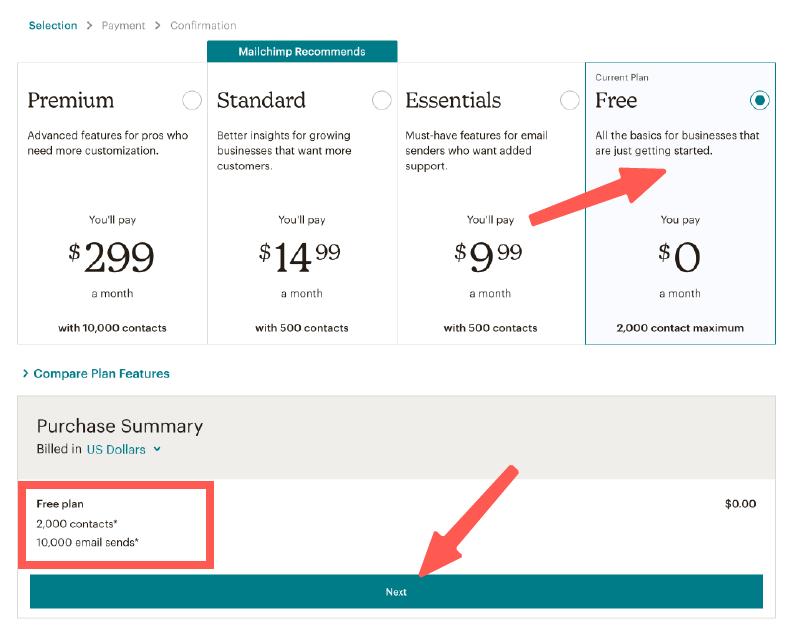 MailChimp教學 :選擇 MailChimp 方案