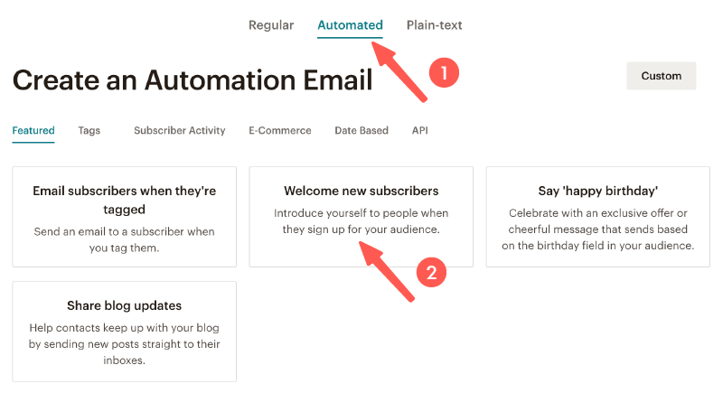 MailChimp教學 :新訂閱者的自動歡迎信件