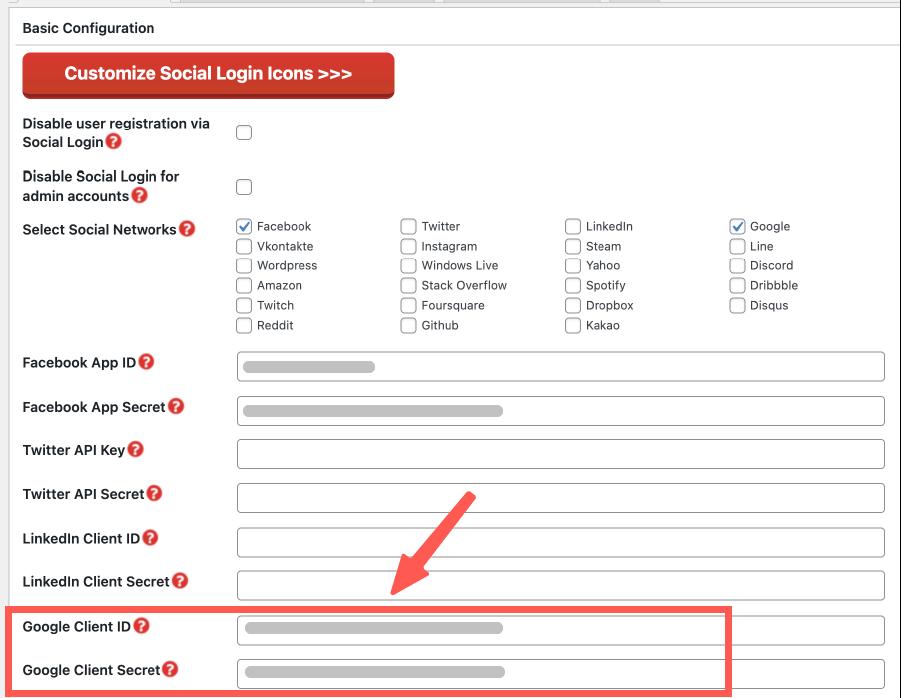 WordPress 社群登入註冊 :填上 Google 憑證帳密