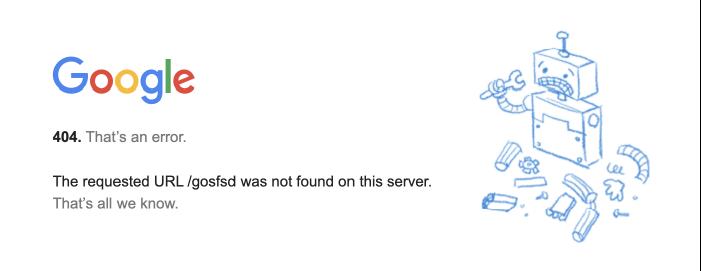 Google 的 404 錯誤畫面