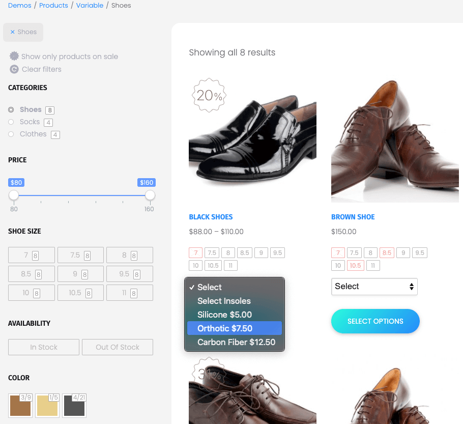 Improved Product Options For WooCommerce 更方便消費者完成購物流程