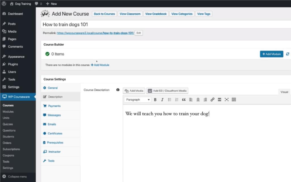 WordPress線上課程外掛 :WP Courseware 後台新建課程