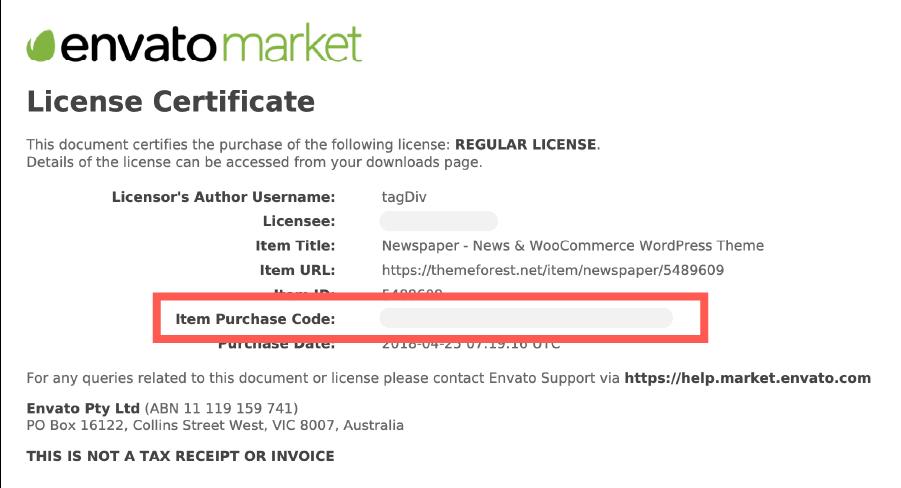 購買 ThemeForest 的軟體憑證